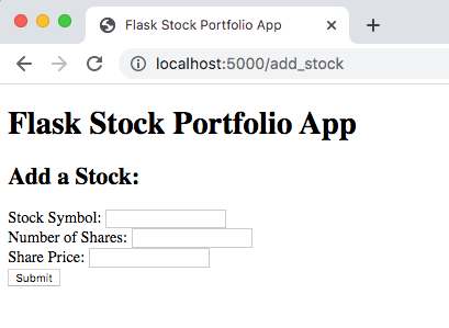 Add Stock Page - Display Only