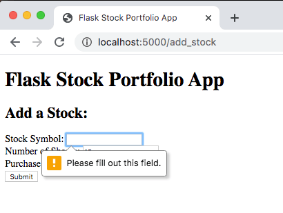 Add Stock Form - Empty Field Error Message