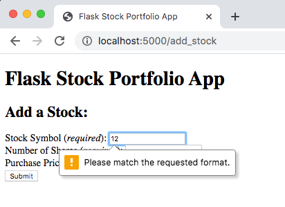 Add Stock Form - Invalid Stock Symbol
